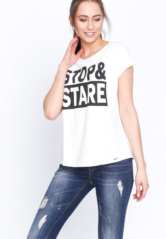 Kremowy T-shirt Stop&Stare