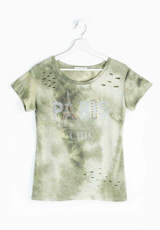 Zielony T-shirt Destroyed Chic