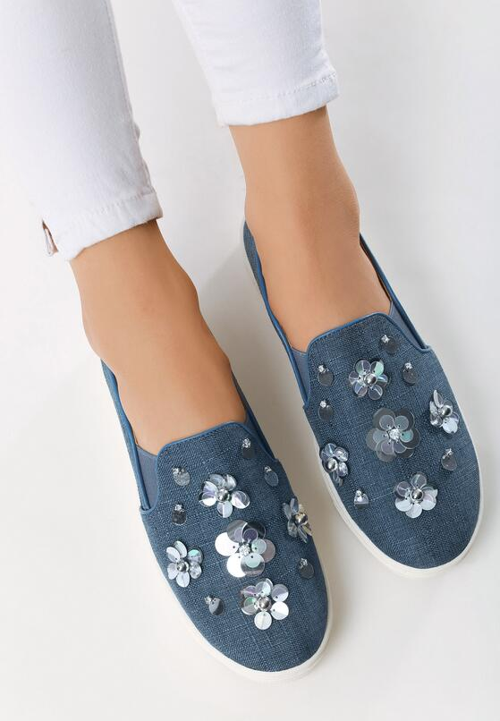 Ciemnoniebieskie Slip On Flower Glam