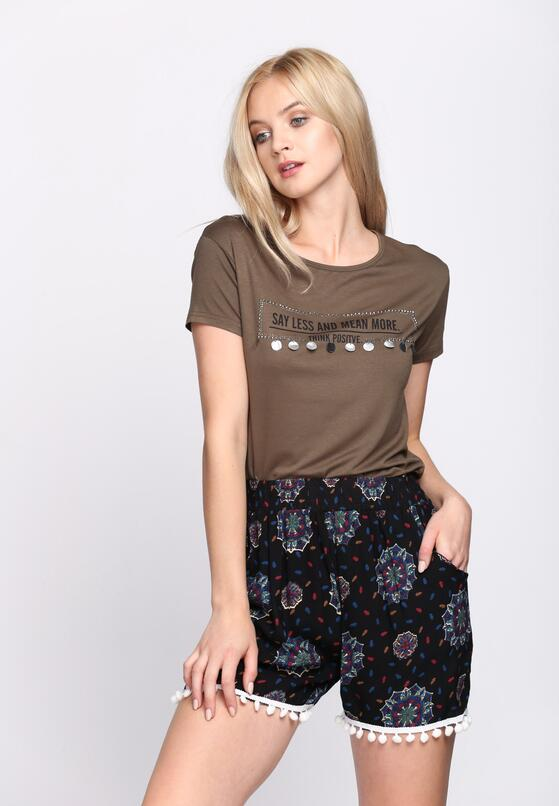 Khaki T-shirt Think Positive