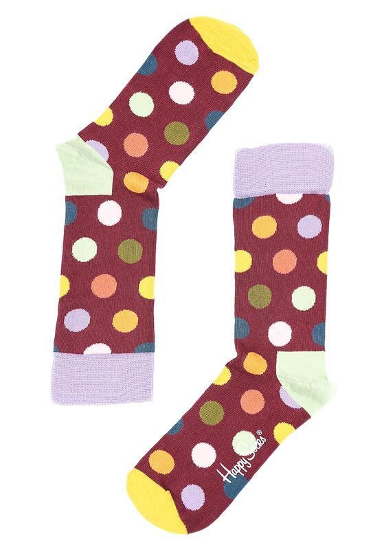 Bordowe Skarpetki Big Dots Happy Socks