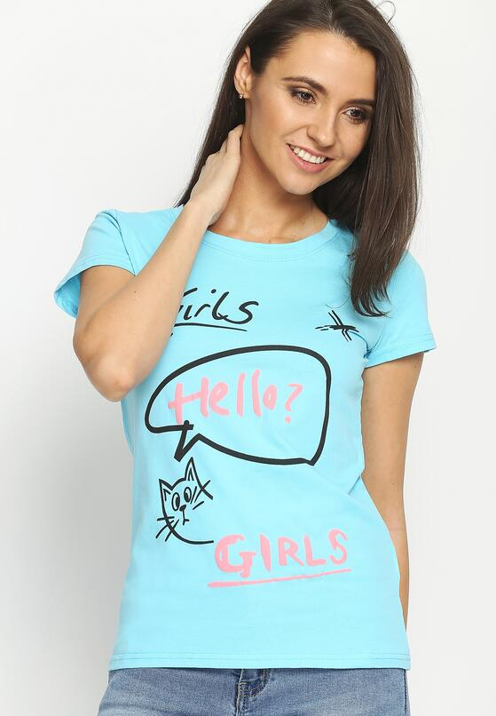 Niebieski T-shirt Hello Girls