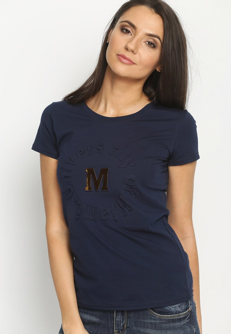Granatowy T-shirt Madam Lady Chic