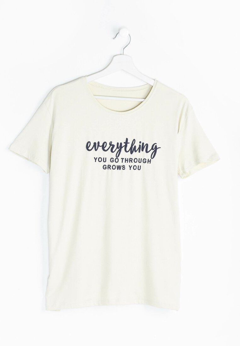 Beżowy T-shirt Influencer