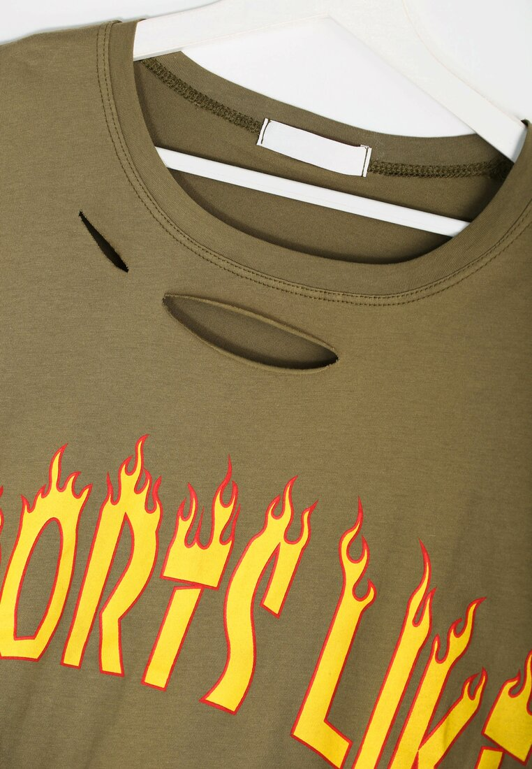 Khaki T-shirt In The Fire