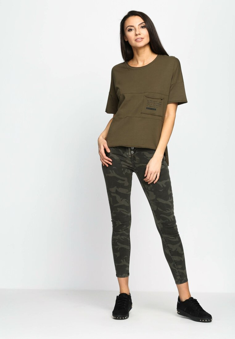 Khaki T-shirt Poetic Pocket