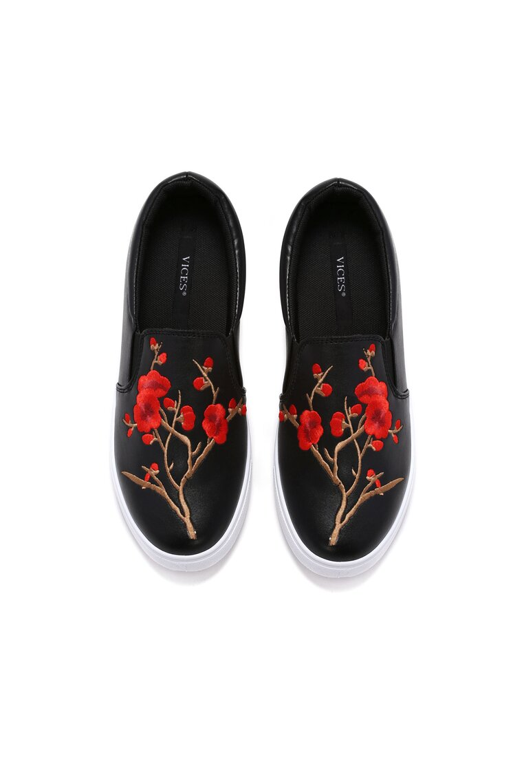 Czarne Slip On Papaver